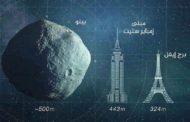 مقارنة بين حجم برج إيفل ومبنى إمباير ستيت  وحجم الكويكب بينو Bennu