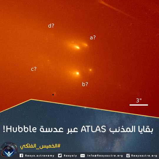 بقايا المذنب ATLAS عبر عدسة Hubble